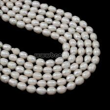 1 Strand White Natural Rice Cultured Freshwater Pearl Beads 7-8mm DIY 15.5""