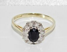 9ct Gold Blue Sapphire & Diamond Cluster Ring size M