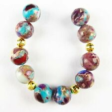 Sh2139 10Pcs/Set Purple Blue Sea Sediment Jasper Round Ball Pendant Bead 8mm