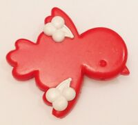 broche vintage petit oiseau rouge avec déco en relief cerise blanche 649