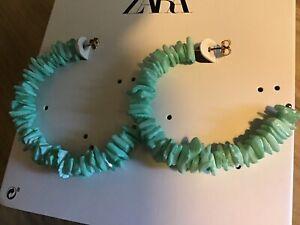 Zara Women Mint Green Shell Open Hoop Earring  - 4319/049 NWT