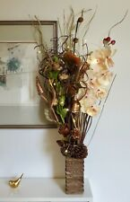 Xmas Copper Cream Artificial flowers Wood vase free 20 LED lights conservatory