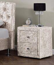 2 Drawers Velvet Linen Fabric Bedside Table Nightstand Bedroom Night Table