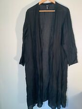 Women's Eileen Fisher Long Black Linen Silk Cardigan 1X