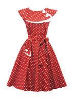 Rosa Rosa Vtg 1950s Retro Red  Polka Dot Rockabilly Party Prom Swing Tea Dress