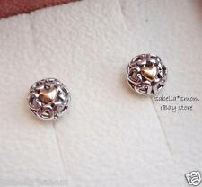 MY ONE TRUE LOVE Genuine PANDORA Silver/14K GOLD Heart EARRING Studs 290557 NEW