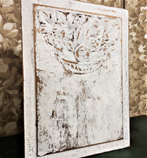 Crazy crackled withe painted panel Antique french art deco architectural salvage