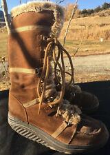 Skechers Shape Ups Tan Brown Faux Fur Knee Boots SN 11812 Women's US Size 7.5