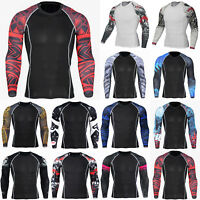 Mens Compression Long Sleeve T Shirt Tights Base Layer Gym Fitness Thermal Tops