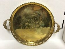 Antique Round Ornate Solid Brass Tray Vintage Serving Plate Platter with Handles
