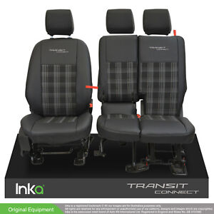 Ford Transit Connect MY13-21 Front Tailored Seat Covers Black OEM Leather Look