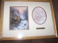 Beautiful Framed Print, Authentic Thomas Kinkade Sweetheart Cottage & Poem & COA