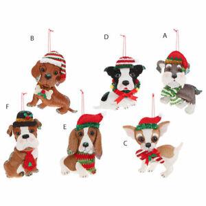 Whimsical Holiday Fabric Dog Ornament