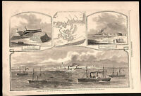 Ship Island Louisiana General Phelps's Brigade 1862 Civil War Navy steamships