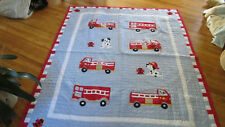 Fire Engine Cotton Twin Quilt.Good condition.