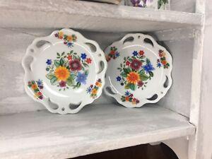 Vintage Lot of 2 Flower Floral Small Mini Porcelain Trinket Dish Plates 💐 D