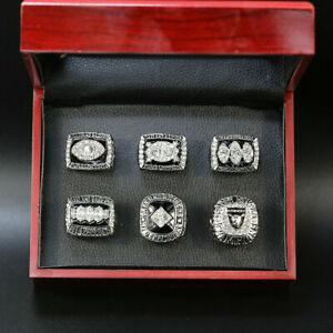 Oakland Raiders 6 pcs + box Championship NFL rings