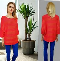 ISABELLA D BY MADE IN ITALY SIZE M/L WOMEN`S TOP KNIT RED MIX KIMONO SLEEVE #52