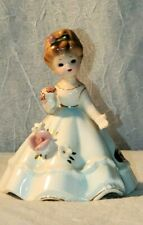 Vintage Josef Originals Wedding Belle Bell Porcelain White Dress Figurine Flower