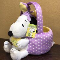 Dan Dee Snoopy Easter Bunny Rabbit Basket Plush Purple Yellow 2019 NWT
