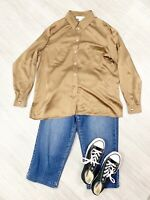 Jaeger 100% Silk Blouse Fashion Bronze Fashion Grunge Blogger Sz XL