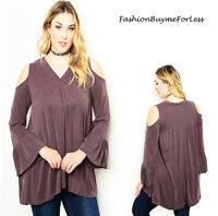 PLUS BOHO Brown Open Shoulder Long Bell Sleeve Tunic Peasant Top 1X 2X 3X 4X NEW