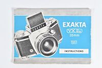 Vintage 1961 Exakta VX Iia 35mm Camera Instruction Manual Booklet Guide