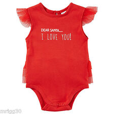 Baby Girls size 00 Dear Santa red CHRISTMAS summer Bodysuit  3 -6 mths NEW Frill