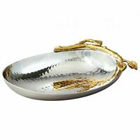 Elegance Golden Vine Hammered Stainless Steel Nut Bowl, 6.25 by 4.25-Inch, Silve