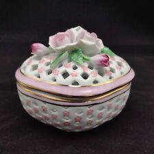 Past Times Finest Porcelain Pink Rose Lattice Work Lidded Trinket Pot
