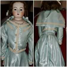 """antique bru 32""""reproduction doll leather type body Fashion hand-sewn outfit"""