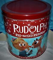 Rudolph the red-nosed reindeer popcorn tin, 24 oz, sealed