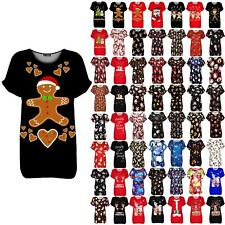 Ladies Womens Snowflakes Elf Candystick Christmas Oversized Xmas Baggy T Shirt