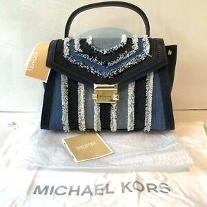 Michael Kors Leather Small Stripe Blue Denim Shoulder Tote Bag Black
