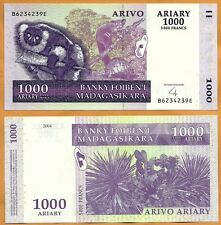 Madagascar 2004 GEM UNC 1000 Ariary 5000 Francs Banknote Paper Money Bill P-89b