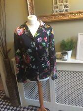 86f4377325 ZARA Black Oriental Satin Style Floral Print Shirt Blouse Size Large BNWT