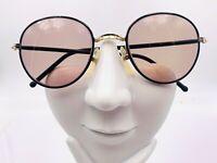 Vintage Black Gold Metal Round Sunglasses Japan FRAMES ONLY