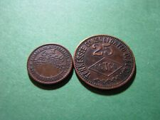 Tracy City, Tennessee Brass Coal Tokens 1 Cent and 25 Cent