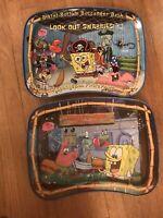 (imperfect) Pair Of Spongebob Squarepants Metal Bed Tv Trays Nickelodeon 2003