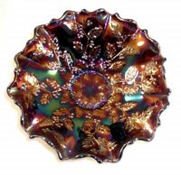 Fenton Carnival Glass Ruffled Edge Bowl Blue Opalescent or Purple Holly Pattern