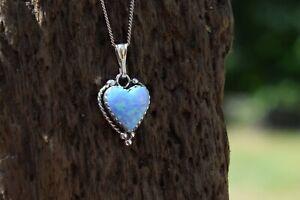 925 STERLING SILVER BLUE OPAL GEMSTONE HEART NECKLACE TRIPLE COLOUR