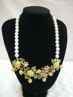 "HEIDI DAUS ""Lemon Blossoms"" Bib-Style Beaded Necklace (Orig.$289.95)"
