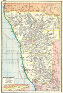 NAMIBIA. South West Africa protectorate. HARMSWORTH 1920 old antique map chart