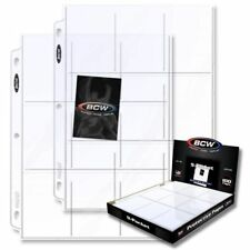 (100 ) BCW 9 POCKET Trading / Baseball Card Album Pages / Coupon Binder Sheets