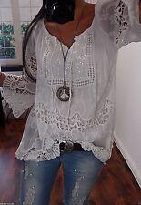 Bluse M L Neu Blogger Tunika Ibiza Italy Shirt Spitze Boho 38 40 Sommer Weiß F23