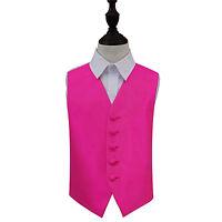 DQT Woven Plain Solid Check Fuchsia Pink Boys Wedding Waistcoat 2-14 Years