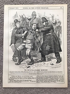 HOME SECRETARY POLICE RIOT TRAFALGAR SQUARE ENGRAVING 1887 Antique CARTOON Print