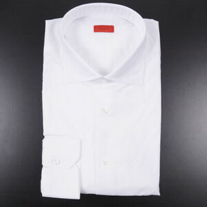 NWT $515 ISAIA Modern-Fit 'Milano' Solid White Lightweight Dress Shirt 18 x 37