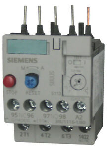 Siemens 3RU1116-1AB0 3 pole overload relay adjustable from 1.1 - 1.6 AMPS