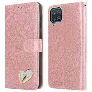 For Samsung Galaxy A12 Phone Case Shiny Leather Bling Glitter Flip Wallet Cover